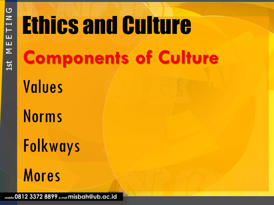 Ethics and Culture Components of Culture Values Norms Folkways Mores
