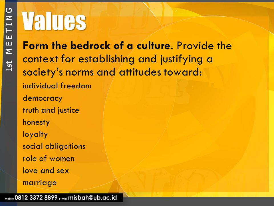Values Form the bedrock of a culture. Provide the context for establishing and justifying a society's norms and attitudes toward: