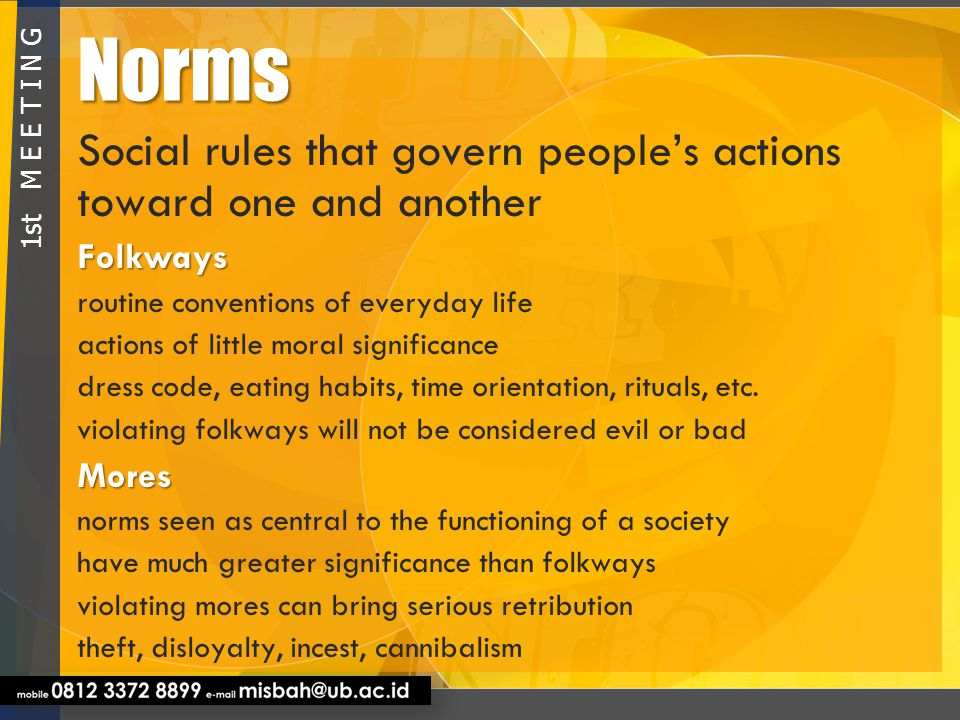 Norms Social rules that govern people's actions toward one and another