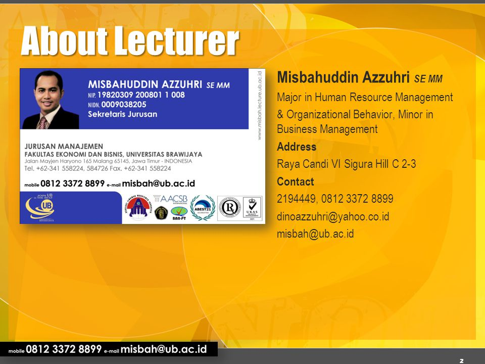 About Lecturer Misbahuddin Azzuhri SE MM