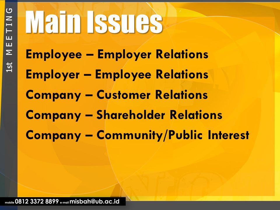 Main Issues Employee – Employer Relations