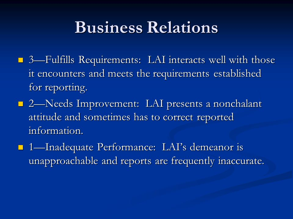 Business Relations 3—Fulfills Requirements: LAI interacts well with those it encounters and meets the requirements established for reporting.