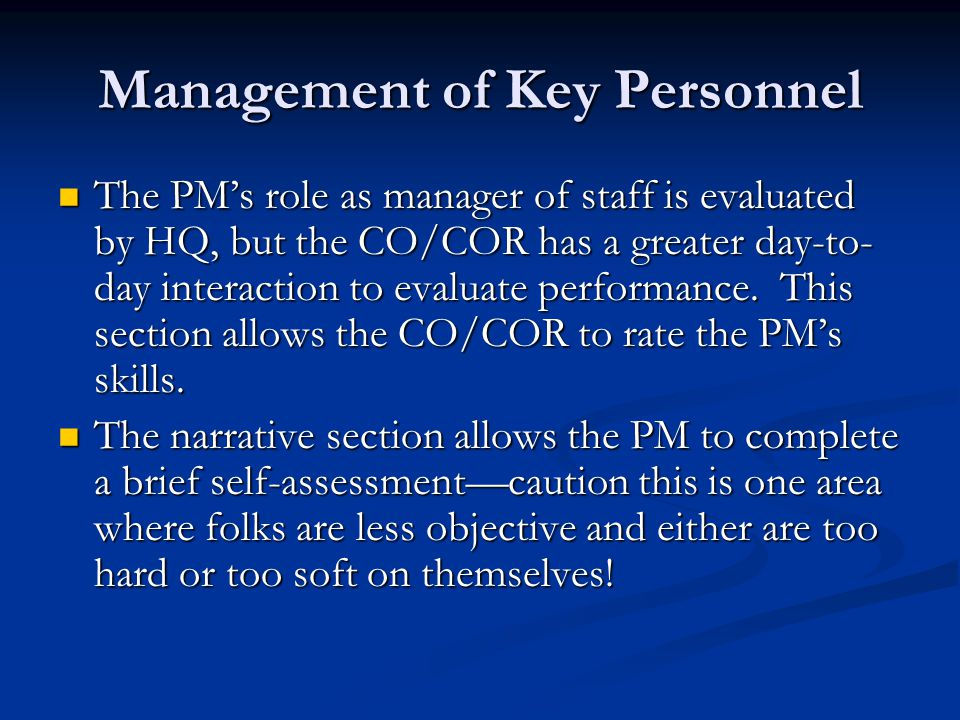 Management of Key Personnel