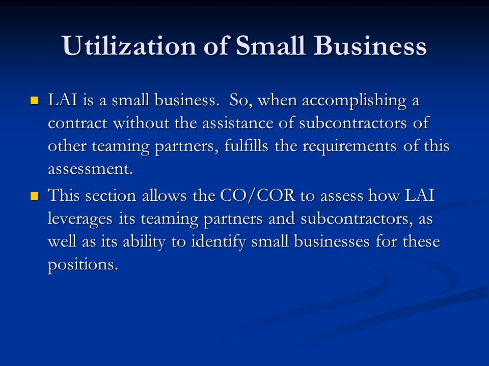 Utilization of Small Business