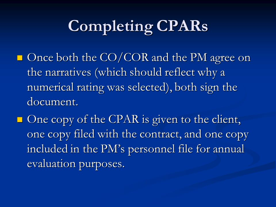 Completing CPARs