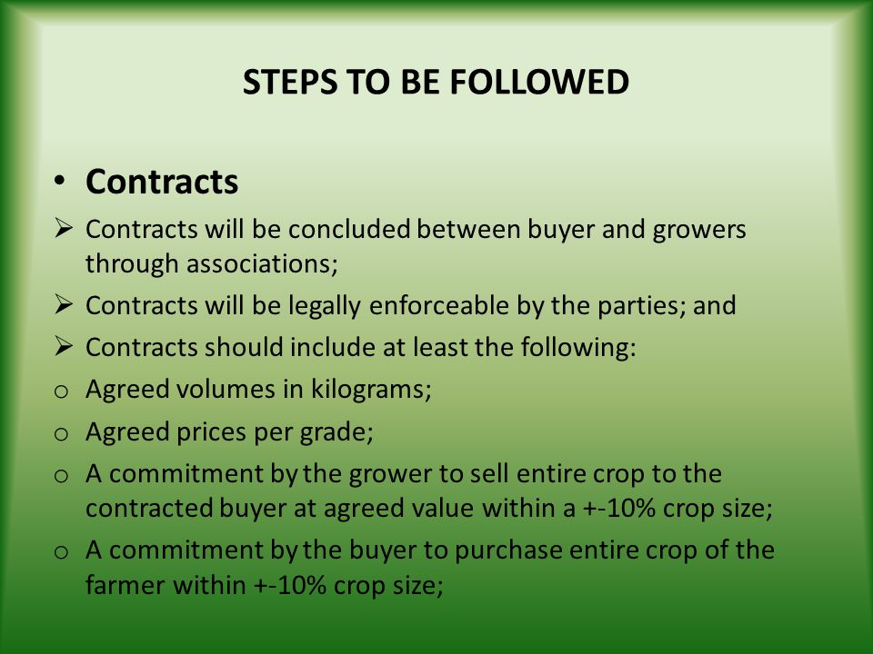 STEPS TO BE FOLLOWED Contracts