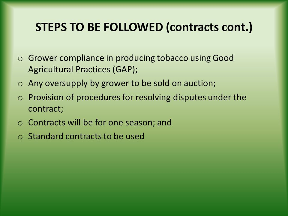 STEPS TO BE FOLLOWED (contracts cont.)
