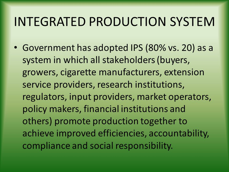 INTEGRATED PRODUCTION SYSTEM
