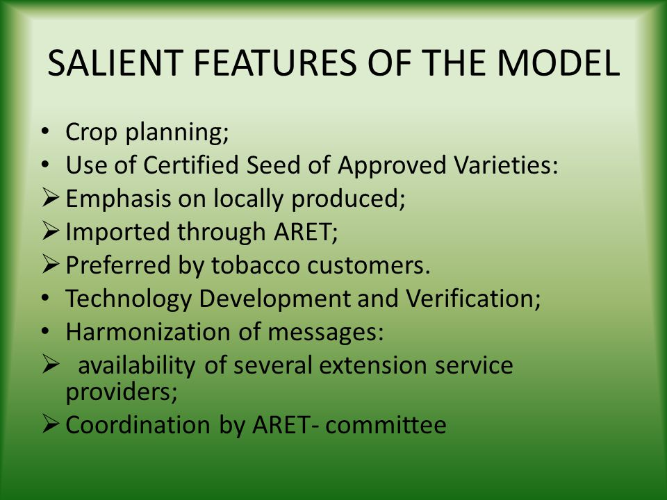 SALIENT FEATURES OF THE MODEL
