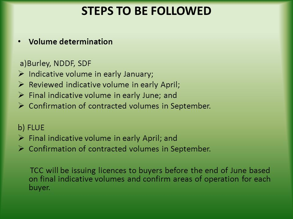 STEPS TO BE FOLLOWED Volume determination a)Burley, NDDF, SDF