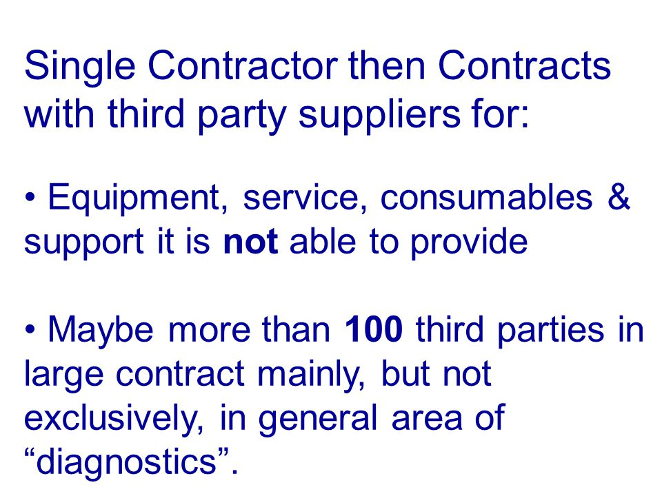 Single Contractor then Contracts with third party suppliers for: