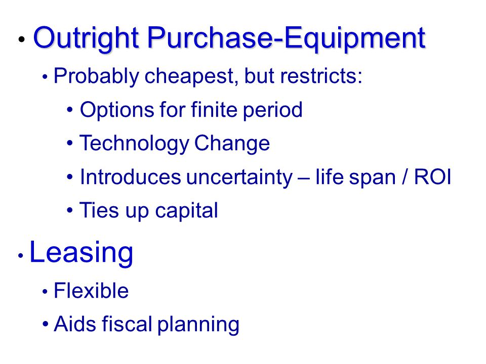 Outright Purchase-Equipment