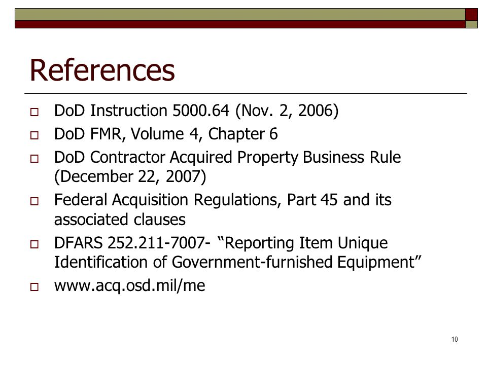 References DoD Instruction 5000.64 (Nov. 2, 2006)