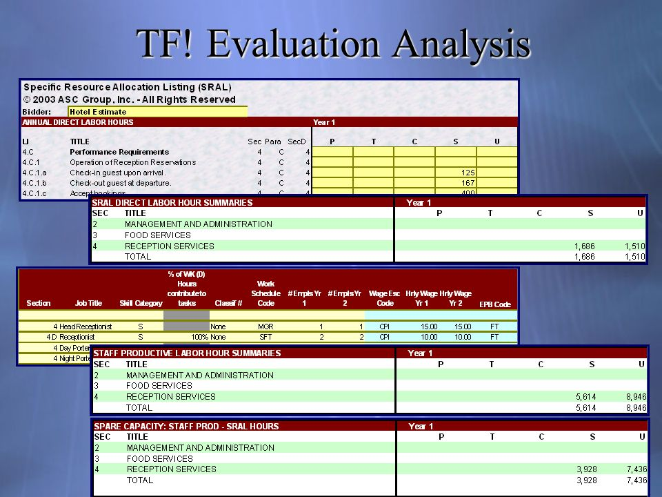 TF! Evaluation Analysis