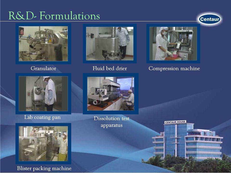 R&D- Formulations Granulator Fluid bed drier Compression machine