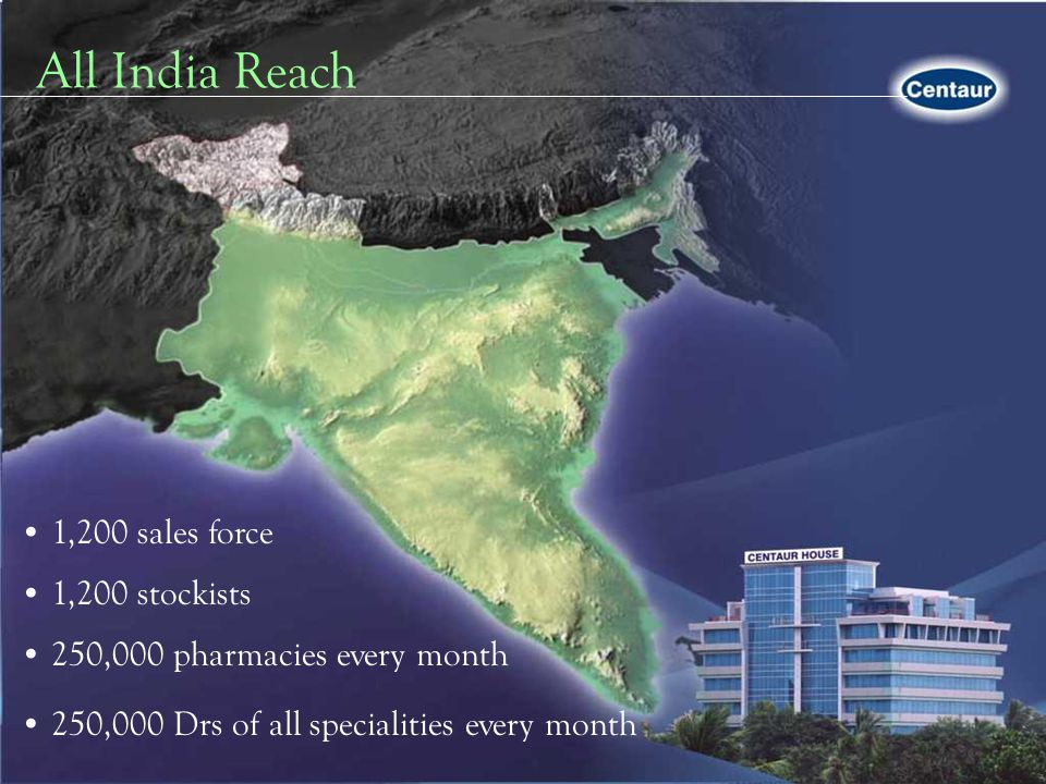 All India Reach 1,200 sales force 1,200 stockists