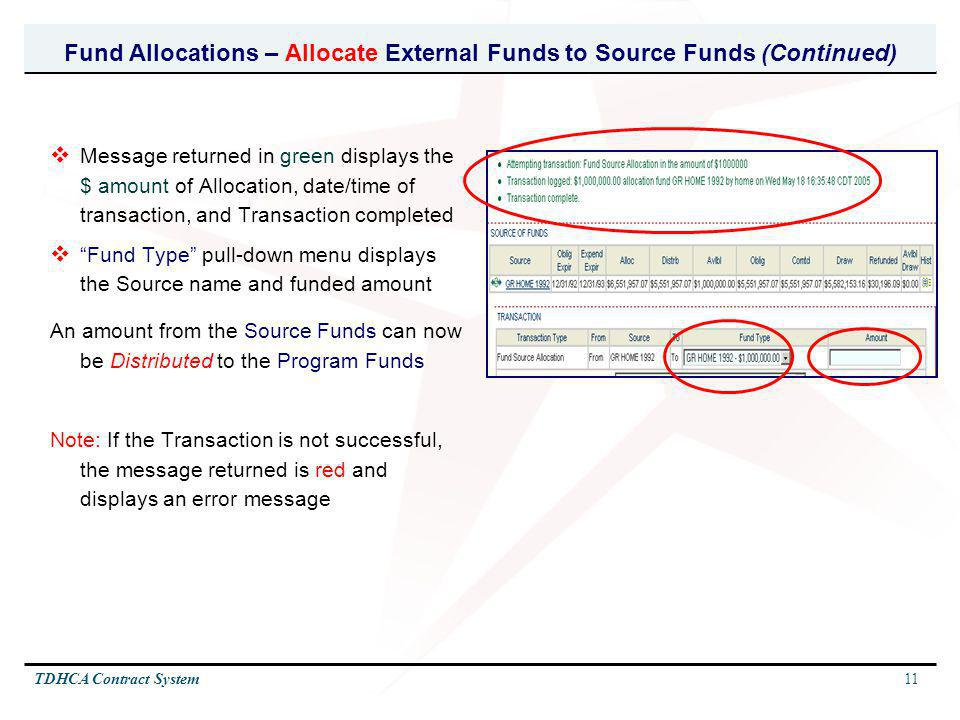 Fund Allocations – Allocate External Funds to Source Funds (Continued)