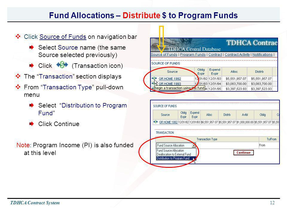 Fund Allocations – Distribute $ to Program Funds