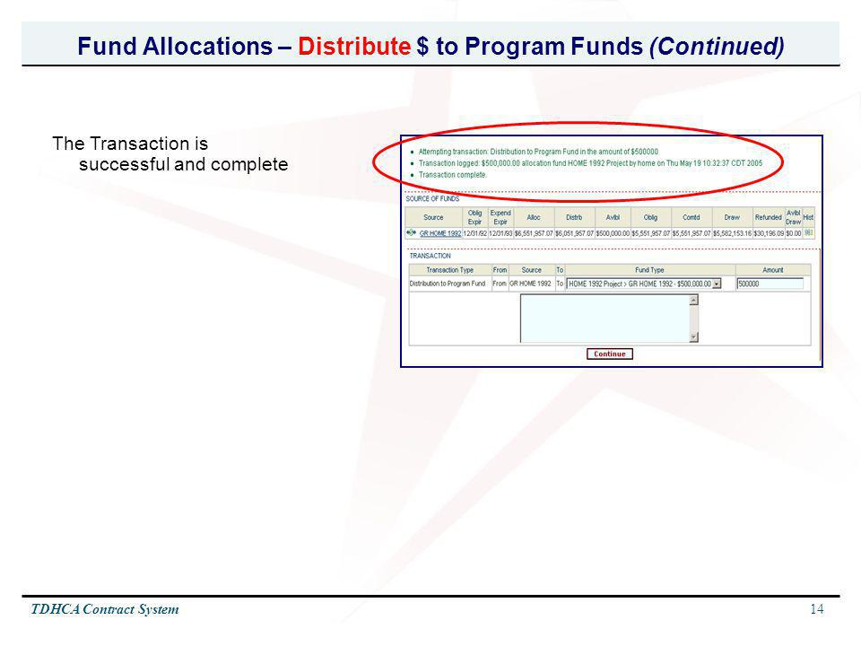 Fund Allocations – Distribute $ to Program Funds (Continued)