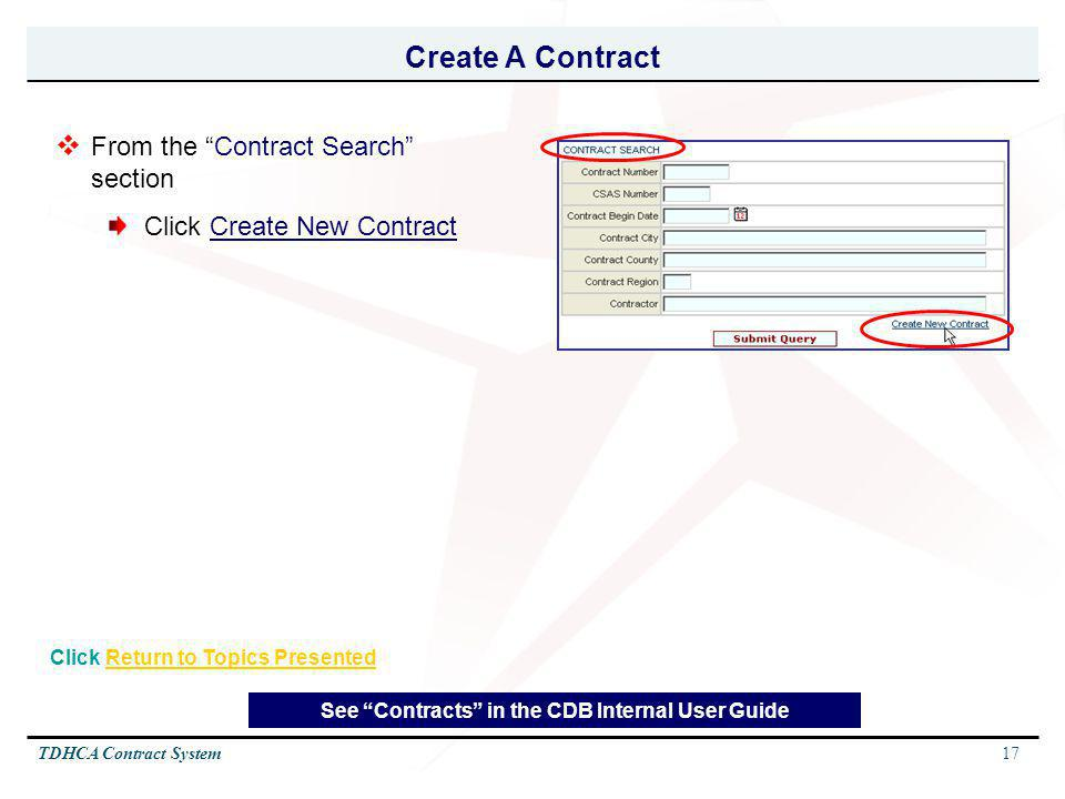 Create A Contract From the Contract Search section