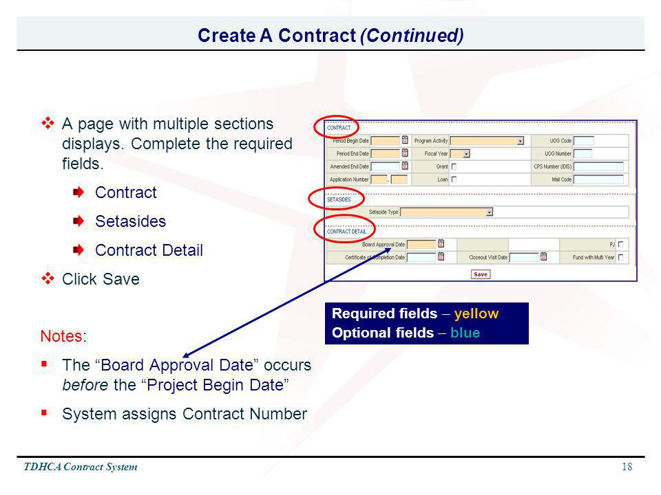 Create A Contract (Continued)