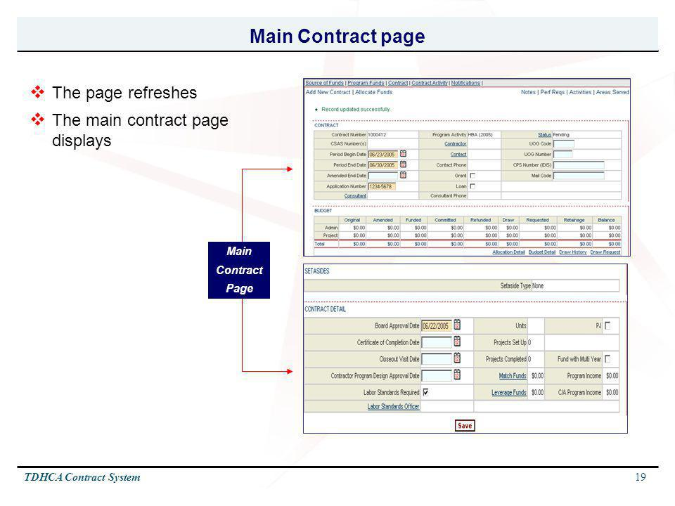 Main Contract page The page refreshes The main contract page displays