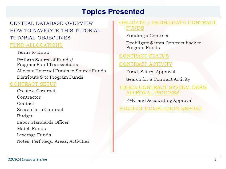 Topics Presented OBLIGATE / DEOBLIGATE CONTRACT FUNDS