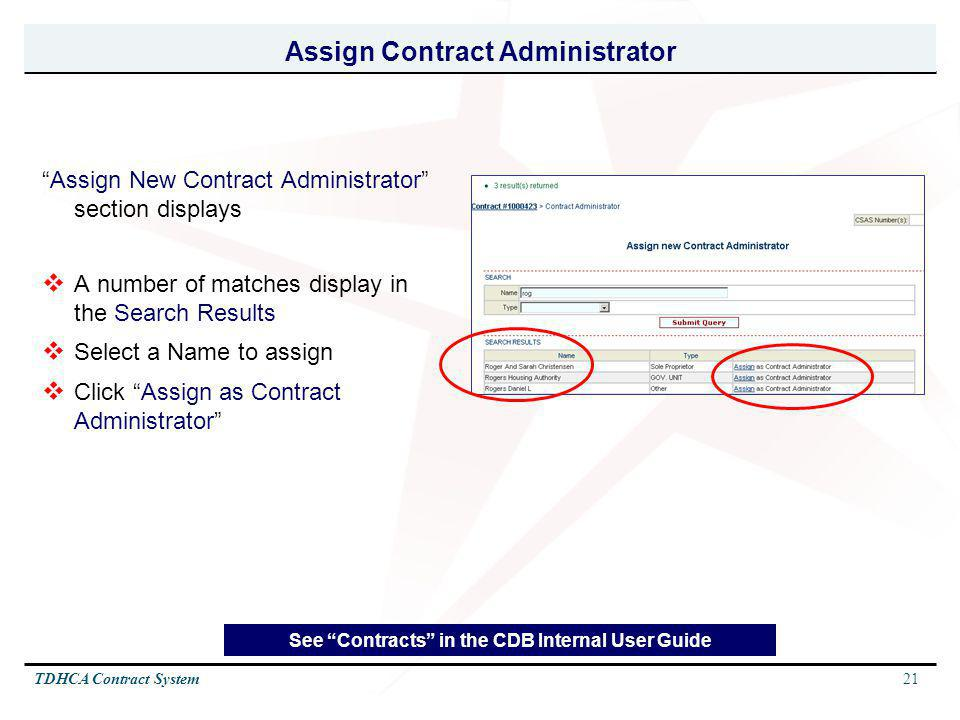 Assign Contract Administrator