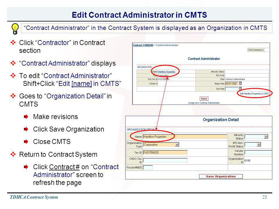 Edit Contract Administrator in CMTS