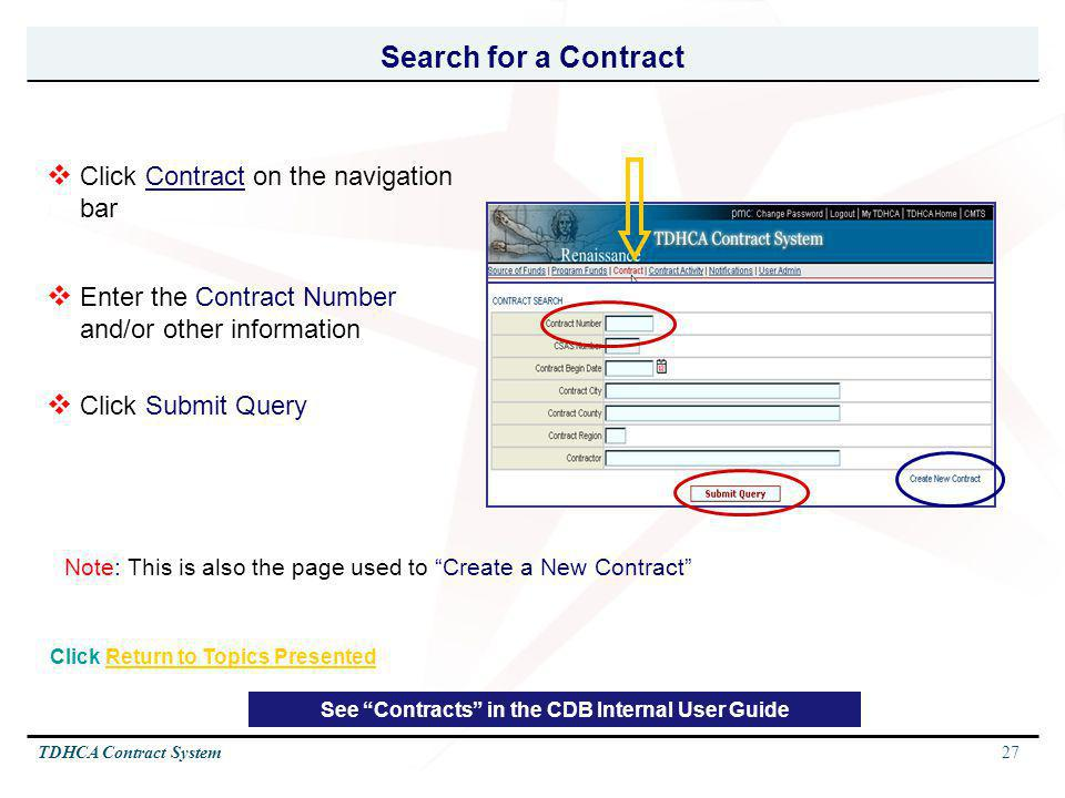 Search for a Contract Click Contract on the navigation bar