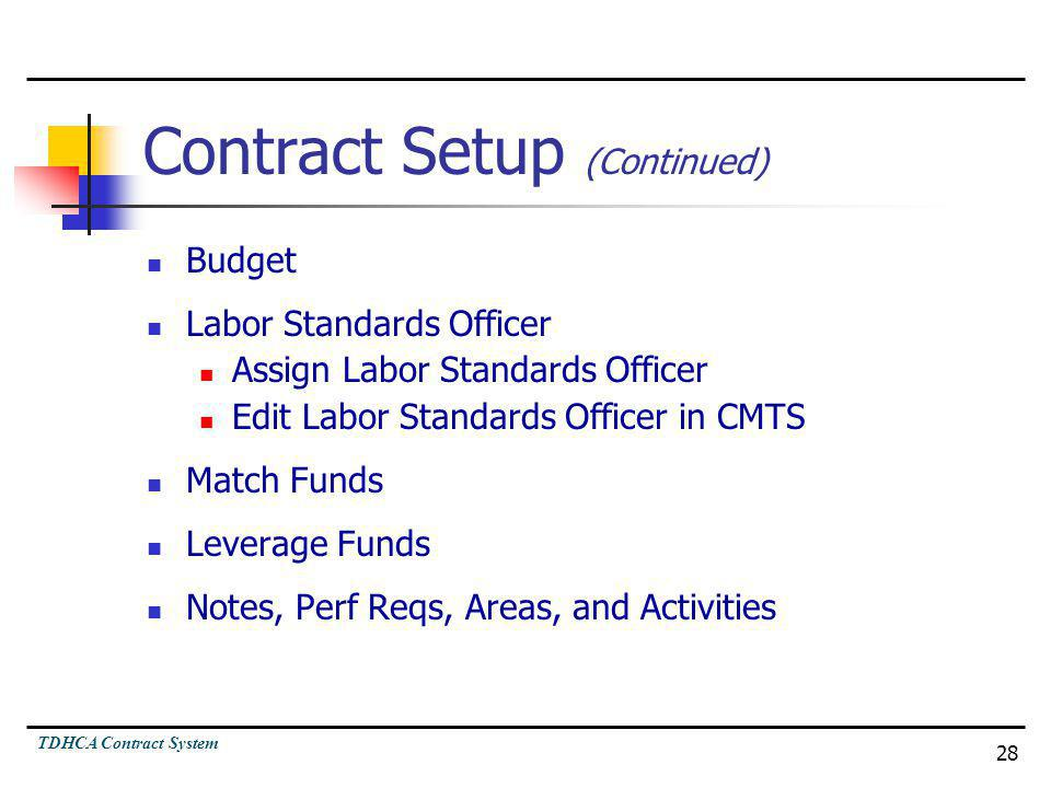 Contract Setup (Continued)