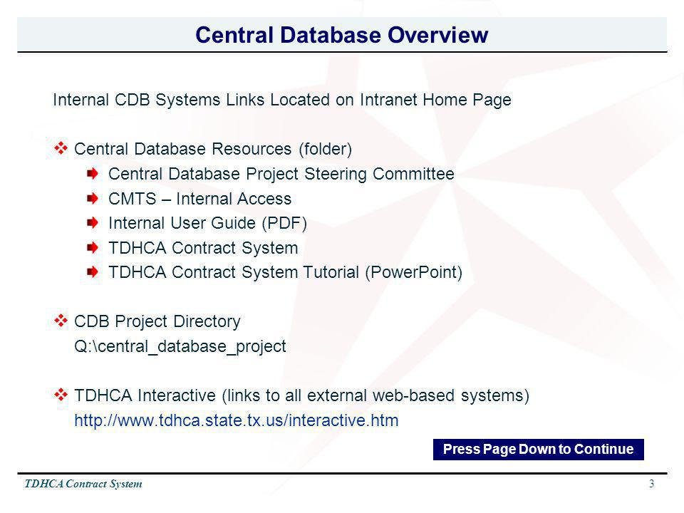 Central Database Overview