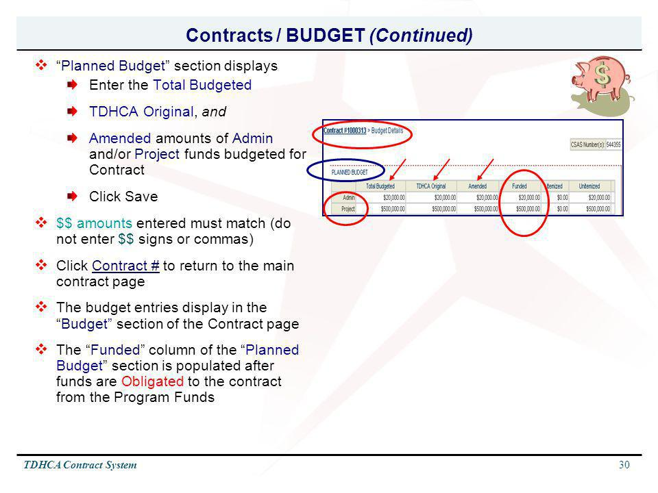 Contracts / BUDGET (Continued)
