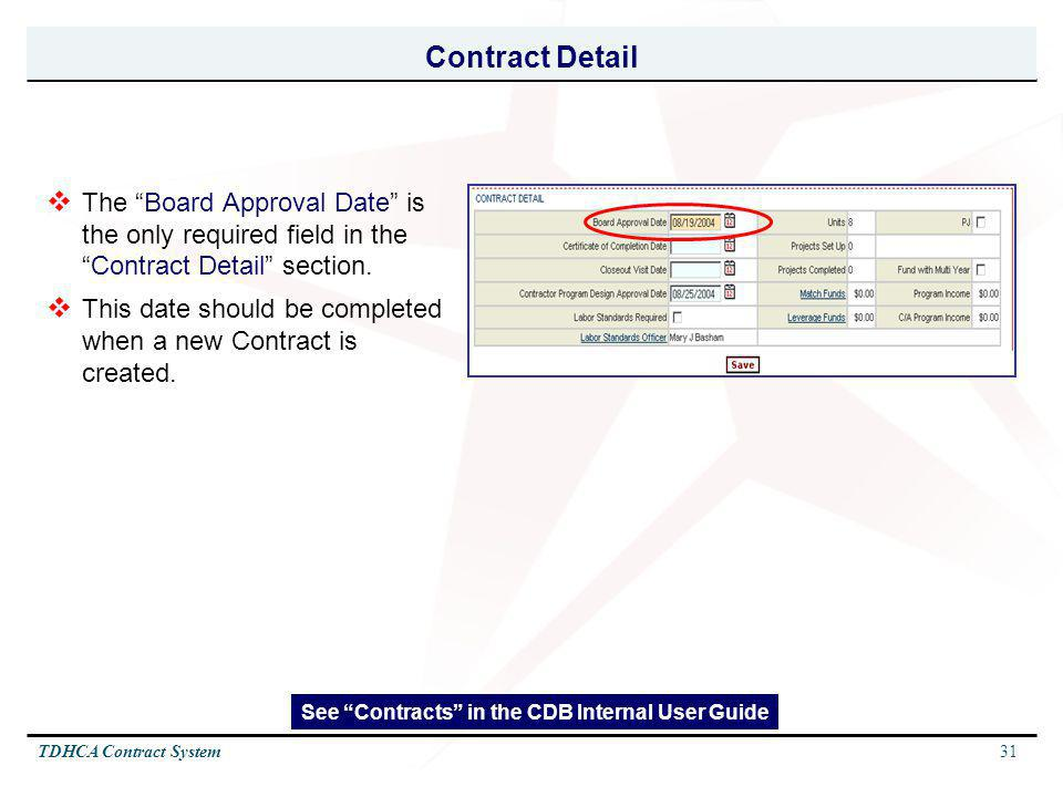 See Contracts in the CDB Internal User Guide
