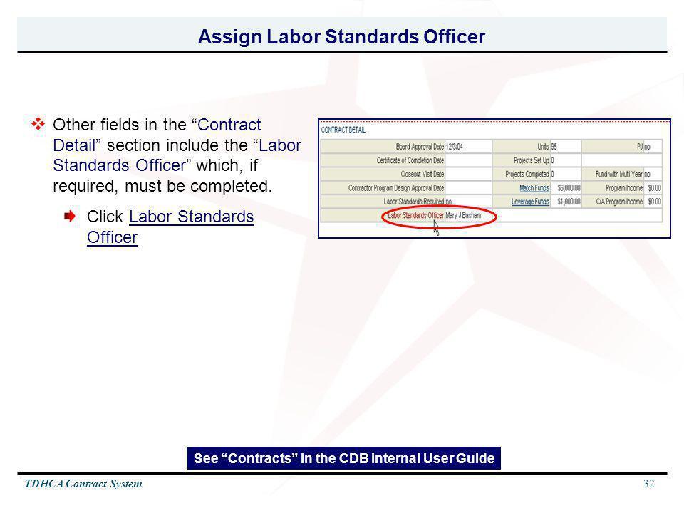 Assign Labor Standards Officer