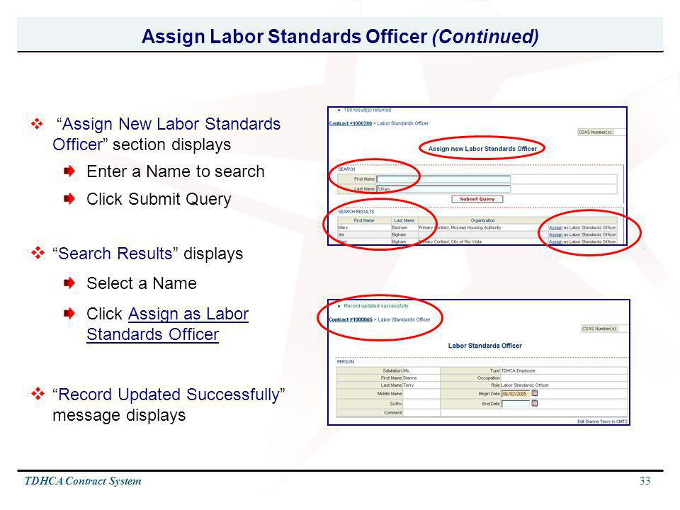 Assign Labor Standards Officer (Continued)