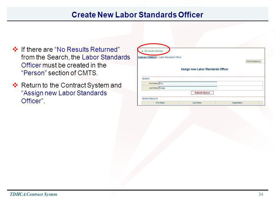Create New Labor Standards Officer