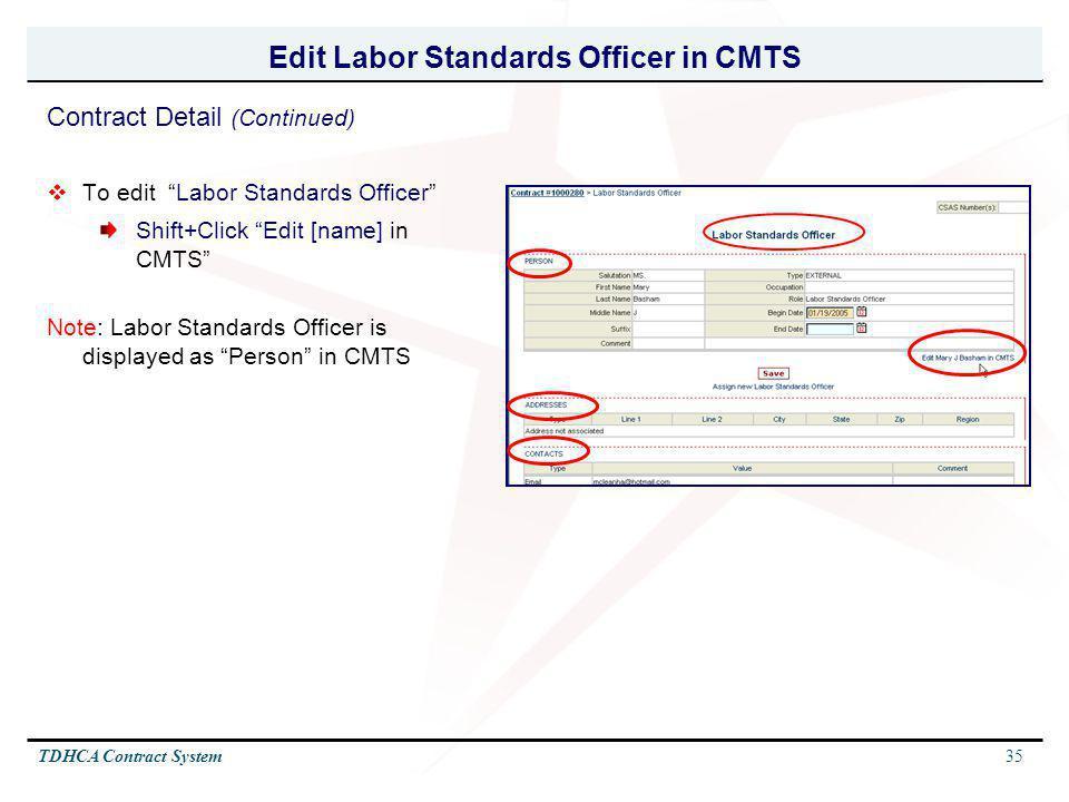 Edit Labor Standards Officer in CMTS