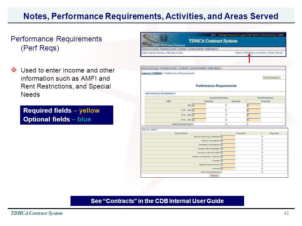 Notes, Performance Requirements, Activities, and Areas Served
