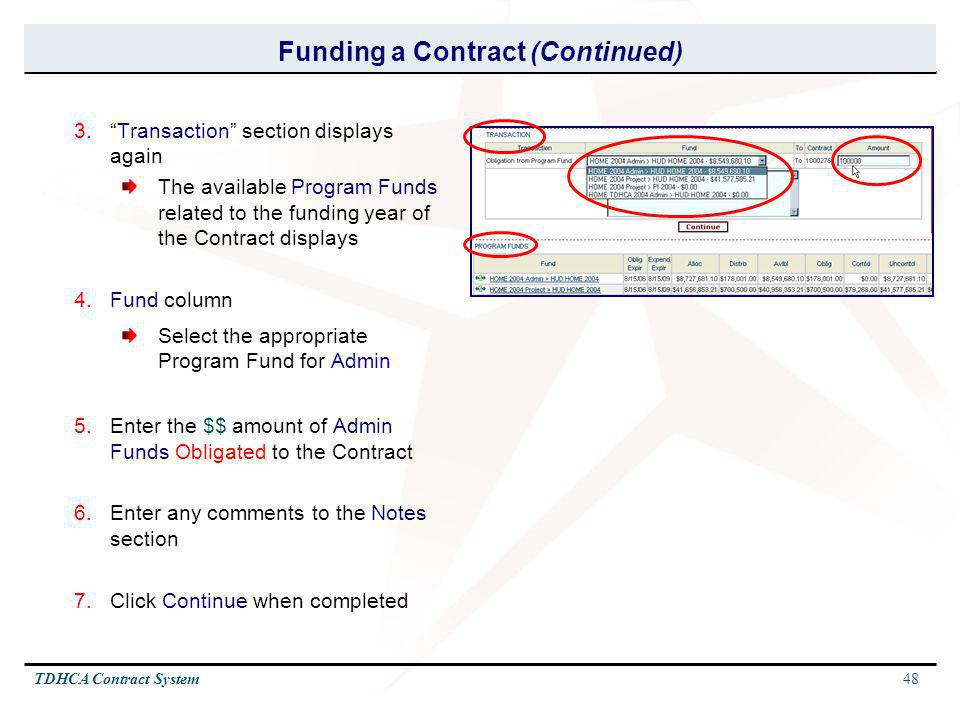 Funding a Contract (Continued)
