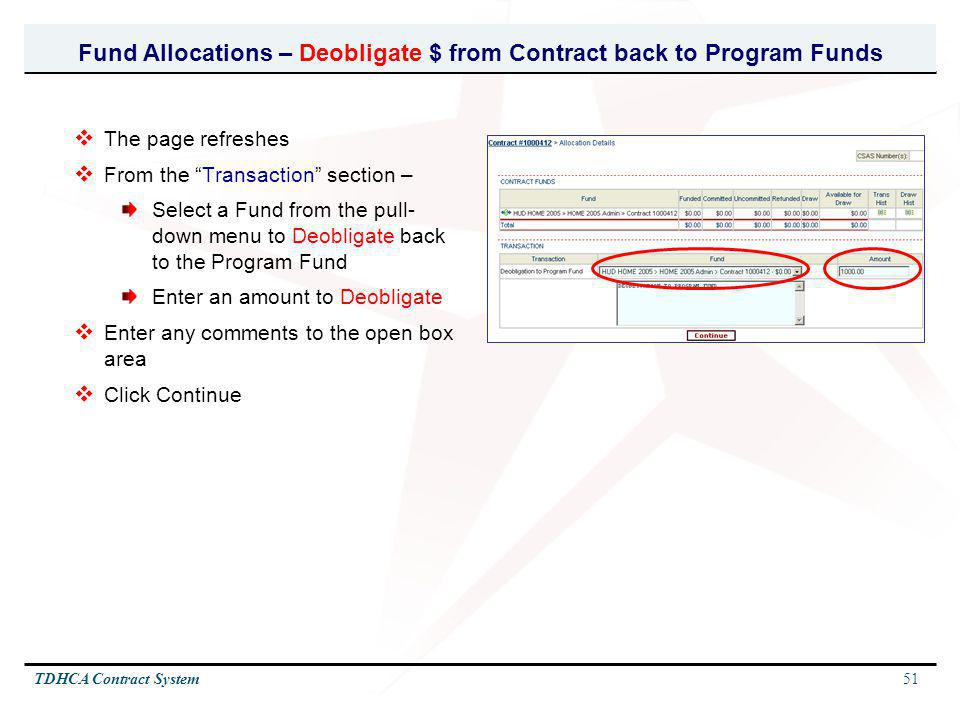 Fund Allocations – Deobligate $ from Contract back to Program Funds