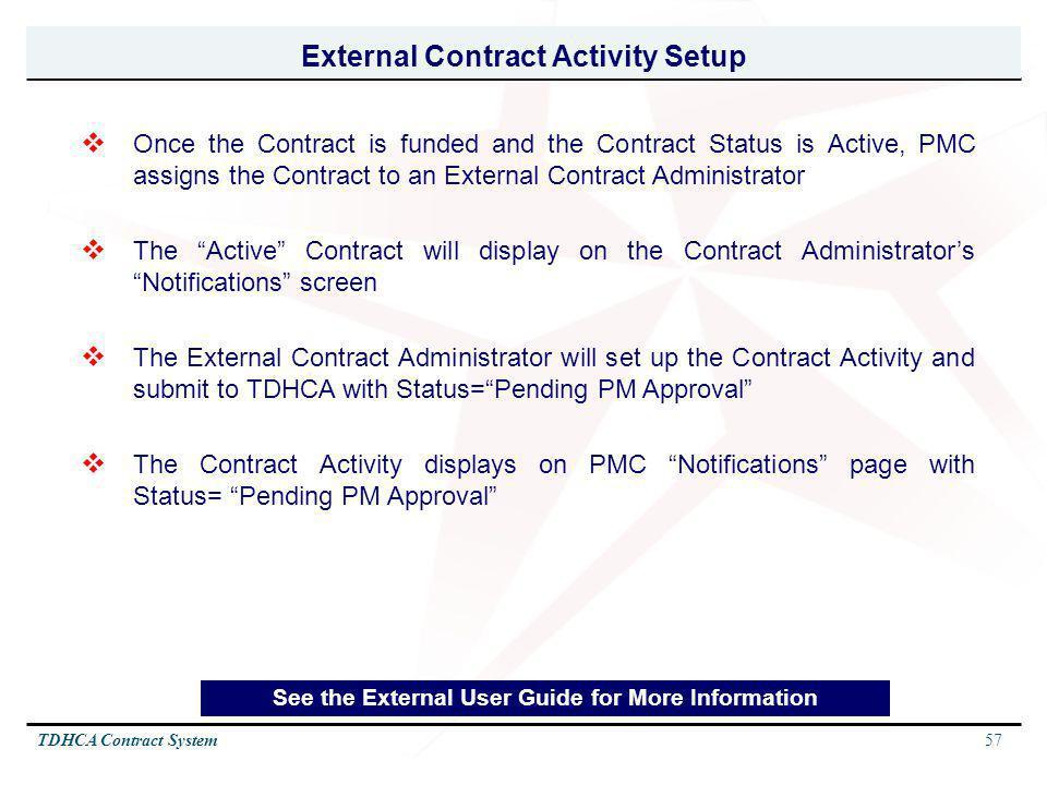 External Contract Activity Setup