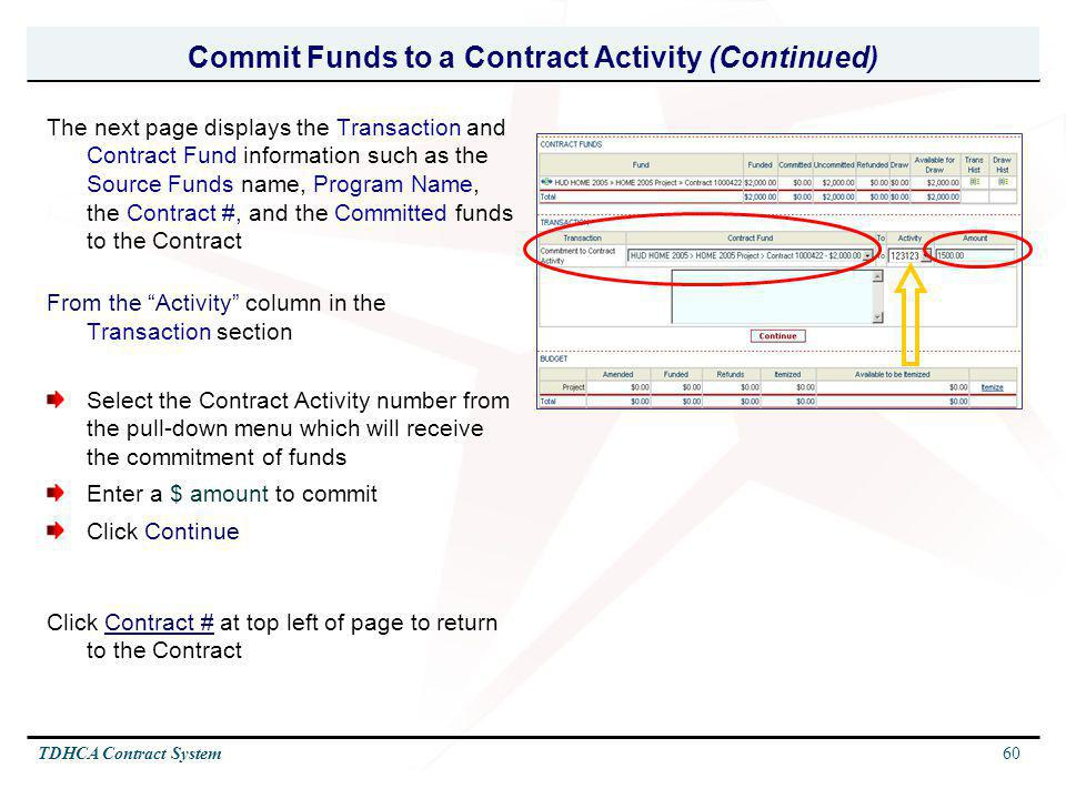 Commit Funds to a Contract Activity (Continued)