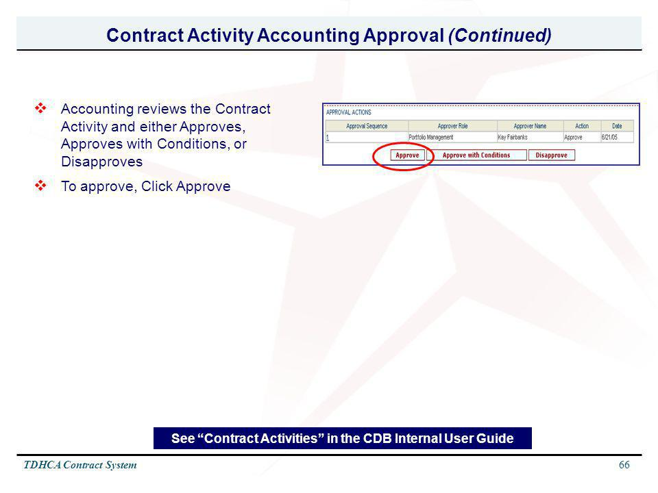 Contract Activity Accounting Approval (Continued)