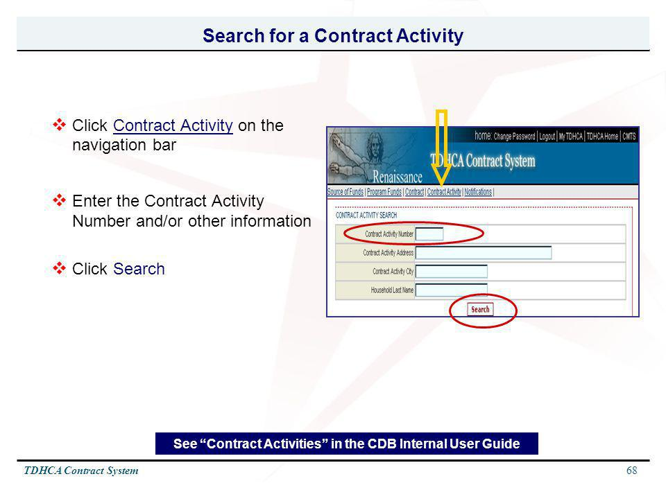 Search for a Contract Activity