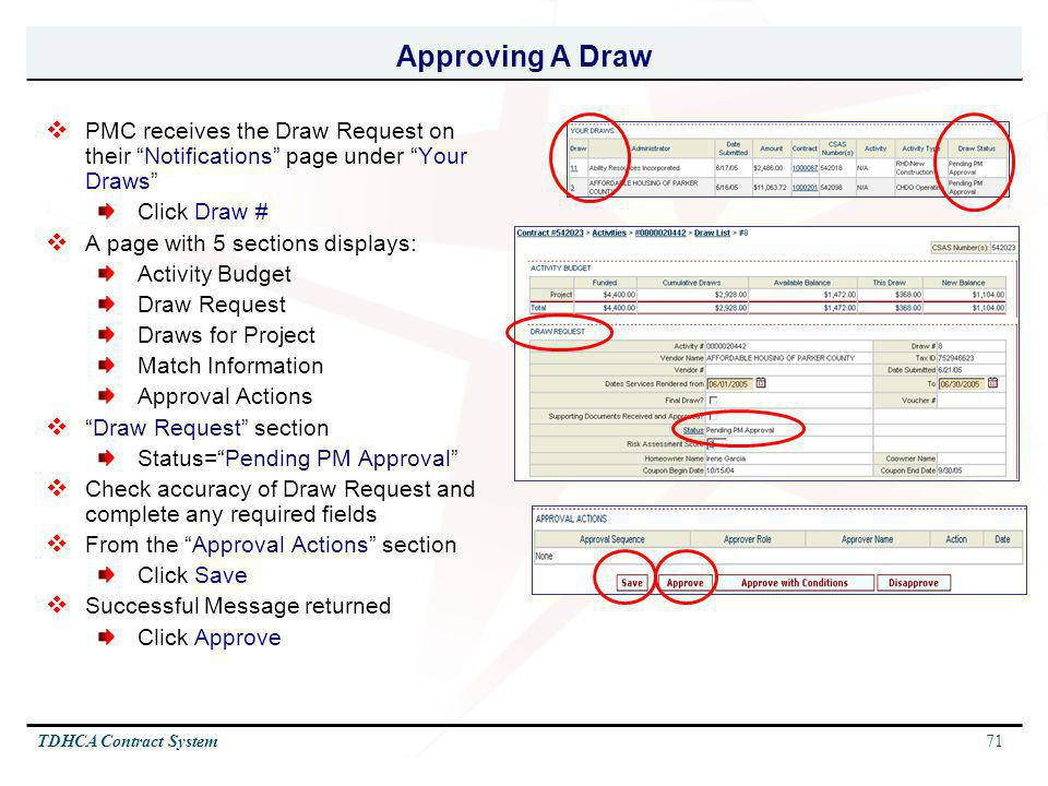 Approving A Draw PMC receives the Draw Request on their Notifications page under Your Draws Click Draw #
