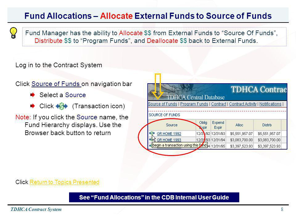 Fund Allocations – Allocate External Funds to Source of Funds