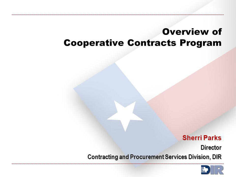 Overview of Cooperative Contracts Program