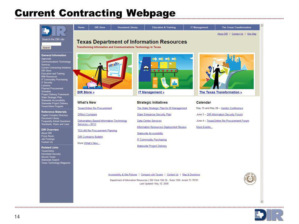 Current Contracting Webpage