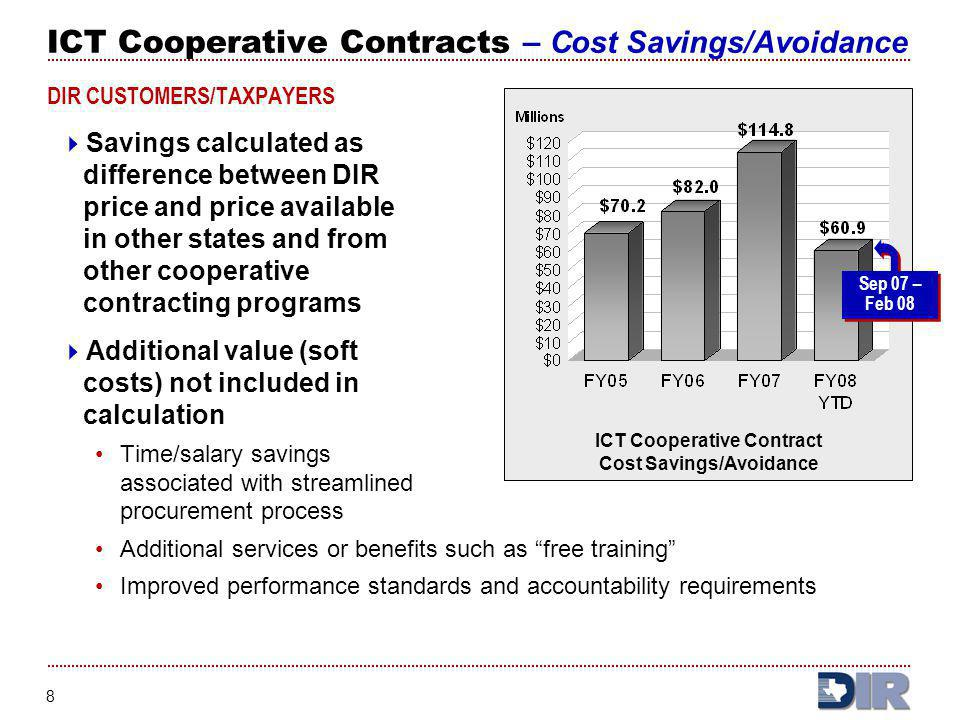 ICT Cooperative Contracts – Cost Savings/Avoidance